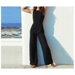 Richcoco - Open Back Sleeveless Jumpsuit