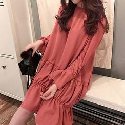 Cloud Nine - Bell-Sleeve Shirred Dress