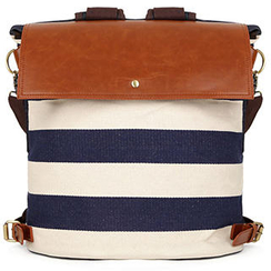 Mr.ace Homme - Faux-Leather Panel Striped Canvas Backpack