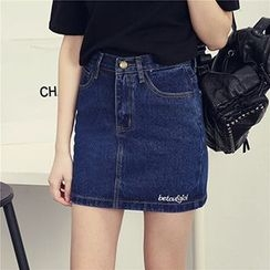 Honey House - Denim Mini A-Line Skirt