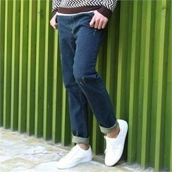 BYMONO - Drawstring-Waist Distressed Tapered Jeans