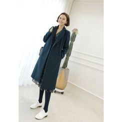 Lemite - Wool Blend Long Trench Coat with Belt