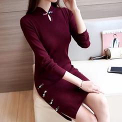 Ageha - Long-Sleeve Slit Knit Dress