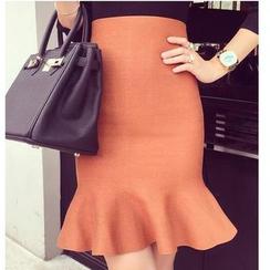 Sienne - Ruffle Hem Knit Skirt