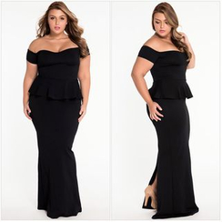 Dear Lover - Plain Off Shoulder Peplum Maxi Dress