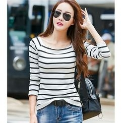 Yinaike - Striped Long Sleeve T-Shirt