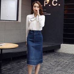 Romantica - Tie-Neck Blouse / Denim Skirt