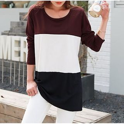 Everose - Long-Sleeve Color-Block Tunic