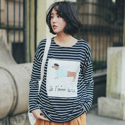 11.STREET - Dog Print Striped Crewneck T-Shirt