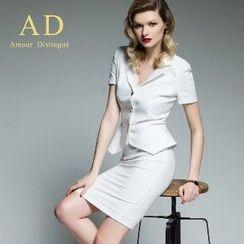 Aision - Set: Ruffle Jacket + Pencil Skirt