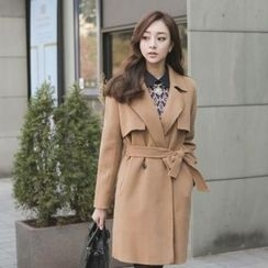 ode' - Wool Blend Trench Coat With Belt
