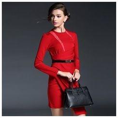 Elabo - Long-Sleeve Lace Panel Tie Waist Dress