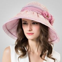 BADA - 蕾丝花朵真丝遮阳帽