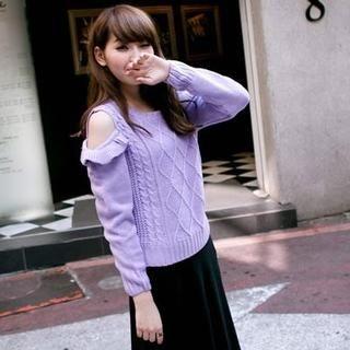Clair Fashion - Ruffled-Trim Off-Shoulder Knit Sweater