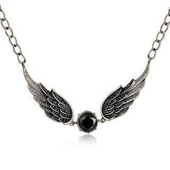 MBLife.com - Left Right Accessory - 925 Sterling Silver Black Cubic Zirconia Gothic Claddagh Angle Wing Necklace (16')