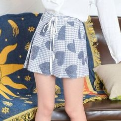 Moriville - Heart Patterned Pleated Skirt