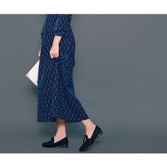 HOTPING - Drawstring-Waist Floral Print Dress