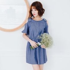 Tokyo Fashion - Embellished Bow Cutout Shoulder Denim A-Line Dress