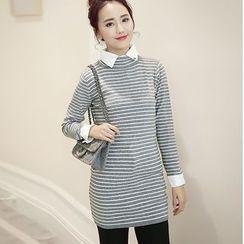 Romantica - Paneled Long Striped Knit Top