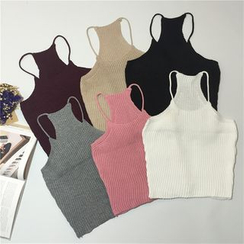 ALIN STYLE - Knitted Cropped Halter Top