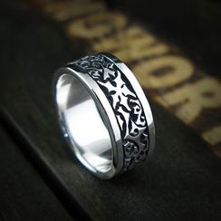 Sterlingworth - Engraved Tinted Sterling Silver Ring