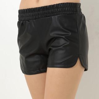 59 Seconds - Elastic-Waist Faux-Leather Shorts