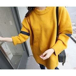 MARSHMALLOW - Contrast-Trim Knit Sweater