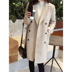 hellopeco - Notched-Lapel Double-Breasted Wool Blend Coat