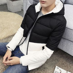 Bay Go Mall - Color Panel Hooded Down Coat
