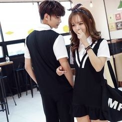 We Belong - Couple Matching Mock Two-Piece Dress / Short-Sleeve T-Shirt / Shorts