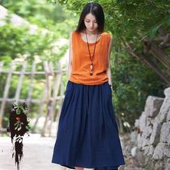 EMBRO - Linen Blend Tank Top / Long Skirt