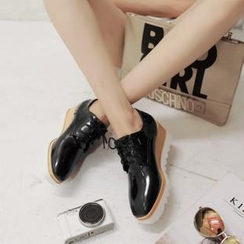CITTA - Patent Wedge Lace-up Shoes