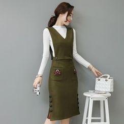 Mandalle - Set : Mock-neck Knit Top + Vest + Skirt