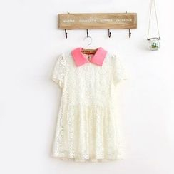 11.STREET - Collared Short-Sleeve Lace Blouse