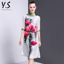 Y:Q - Floral Print Elbow-Sleeve A-Line Dress
