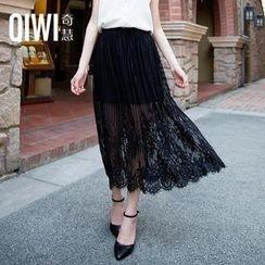 QIWI - Elastic-Waist Lace-Overlay Long Skirt