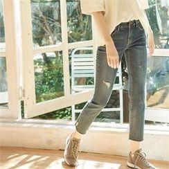 MAGJAY - Fray-Hem Straight-Cut Jeans