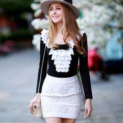 Dabuwawa - Wool Blend Applique-Flower Pencil Skirt
