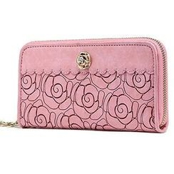 O.SA - Rosette-Accent Chain-Zip Embossed Wallet