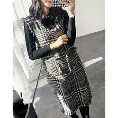 UPTOWNHOLIC - Set: Round-Neck Ribbed Knit Top + Fringed-Trim Checked Dress