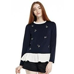 O.SA - Long-Sleeve Mock Two-Piece Jeweled Top