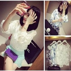 QZ Lady - Floral Pattern Chiffon Top