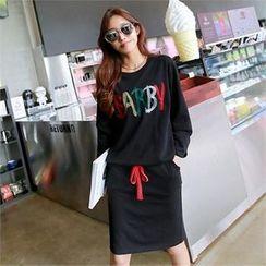 PIPPIN - Set: Tie-Hem Lettering T-Shirt + Band-Waist Skirt