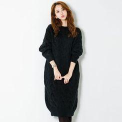 FASHION DIVA - Crew-Neck Cable-Knit Dress
