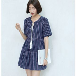 Sens Collection - Embroidered Tasseled Tie Neck Short Sleeve Dress