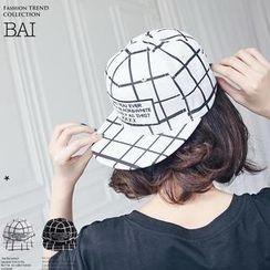BAIMOMO - 刺繡格子鴨舌帽