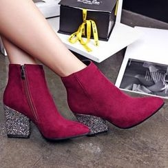 CITTA - Sequined Chunky Heel Ankle Boots