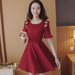 Cherry Dress - Bow Short-Sleeve A-Line Dress