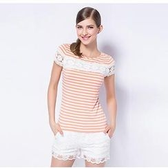O.SA - Cap-Sleeve Lace-Trim Striped Top