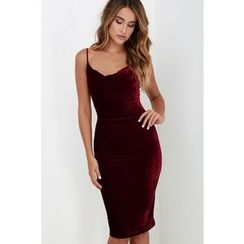 HOTCAKE - Velvet Spaghetti Strap Midi Bodycon Dress
